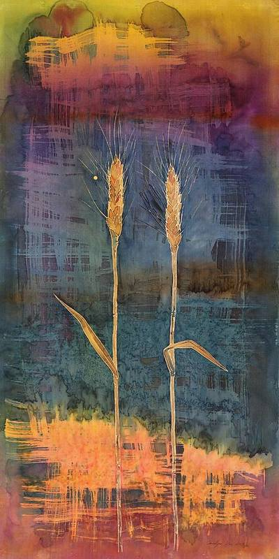 Wheat Poster featuring the tapestry - textile Wheat Couple by Carolyn Doe