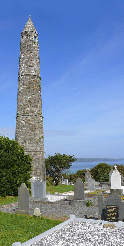 Ardmore Round Tower Poster featuring the photograph Ardmore Round Tower - Ireland by Mike McGlothlen