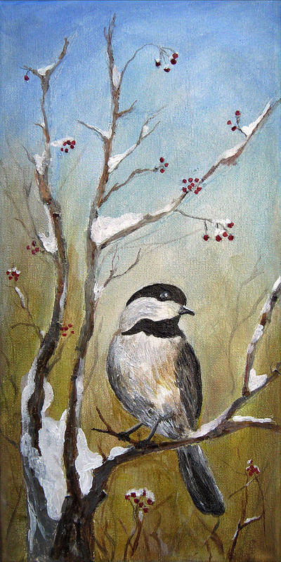 Chickadee Poster featuring the painting Chickadee Part 1 by Karen Copley