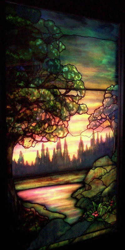 Glass Art Poster featuring the photograph Trees Stained Glass Window by Thomas Woolworth