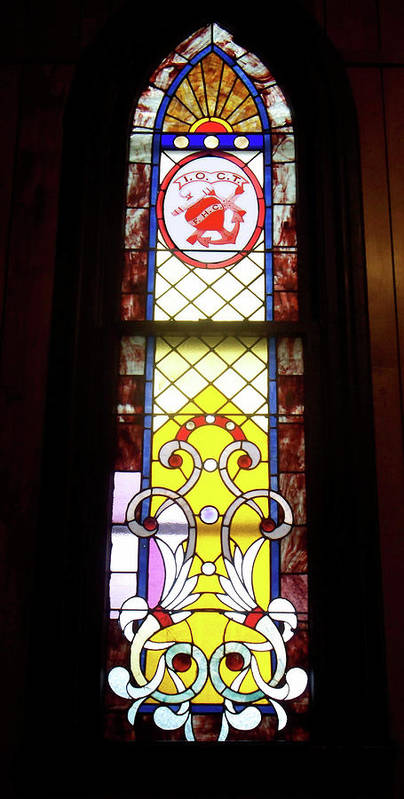 Glass Art Poster featuring the photograph Yellow Stained Glass Window by Thomas Woolworth