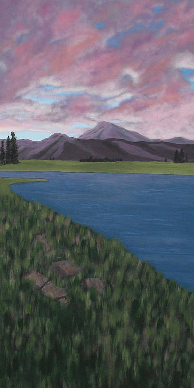 Landscape Poster featuring the painting Purple Mountains by Candace Shockley