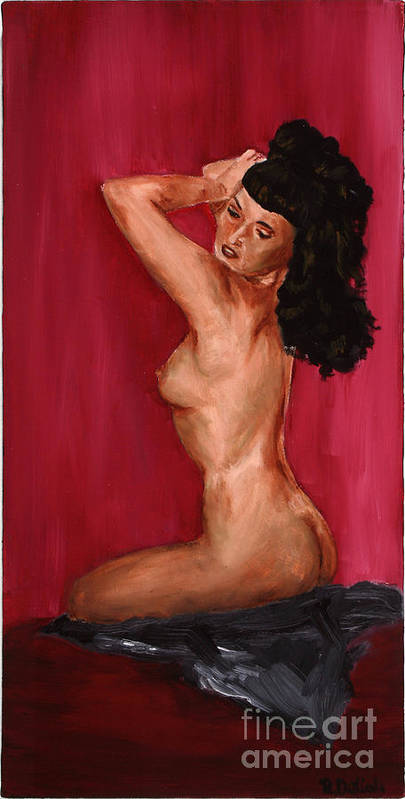 Betty Page Poster featuring the painting Betty Page 1 by Robin DeLisle