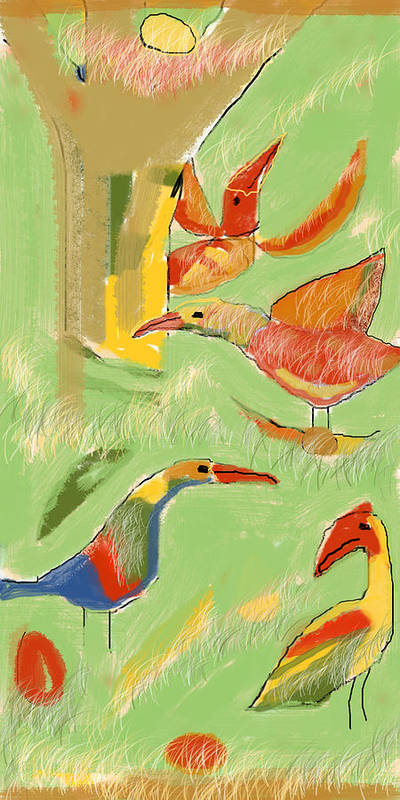 Digital Poster featuring the digital art Birds by Aliza Souleyeva-Alexander