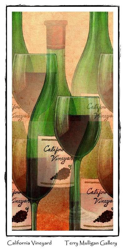 California Poster featuring the digital art California Vineyard Wine Bottle And Glass by Terry Mulligan