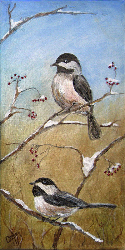 Chickadee Poster featuring the painting Chickadee Part 2 by Karen Copley
