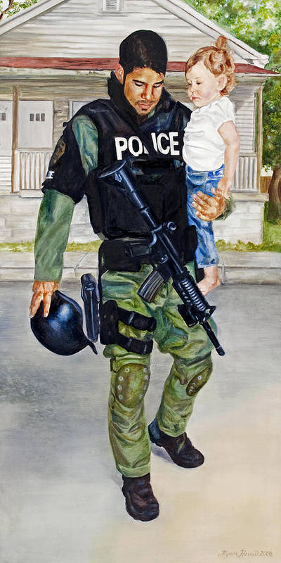 Police Poster featuring the painting Cry No More by Alyson Harris