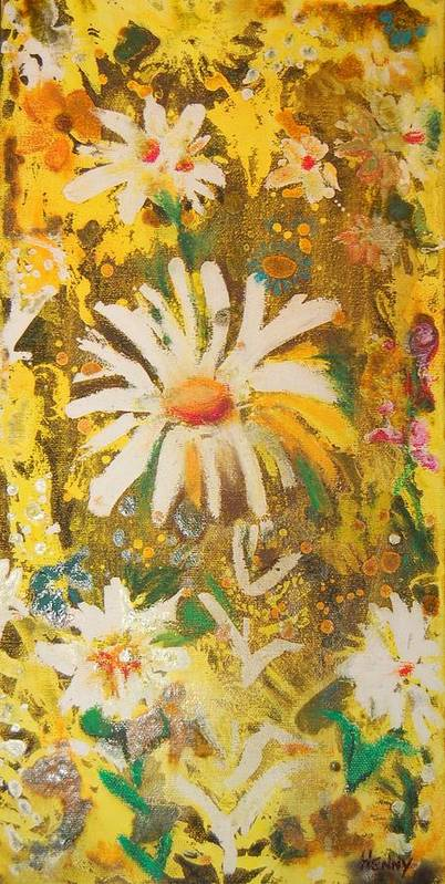 Floral Abstract Poster featuring the painting Daisies In The Wind Vii by Henny Dagenais