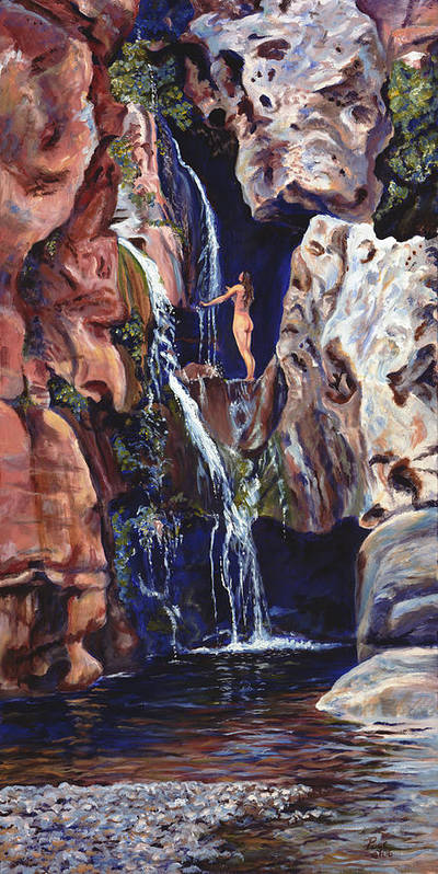Landscape Poster featuring the painting Elves Chasm by Page Holland
