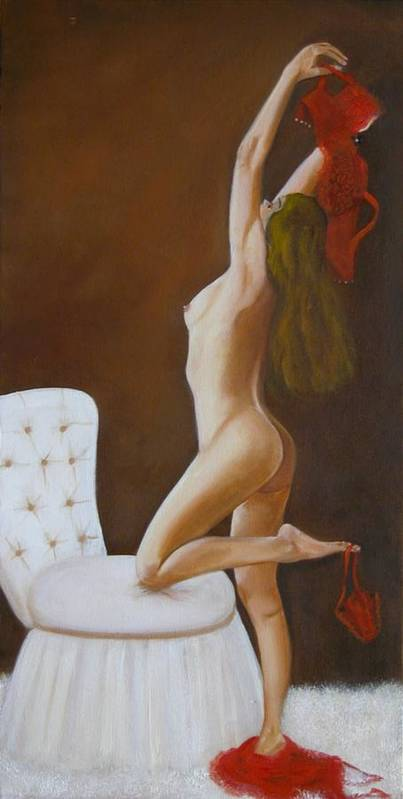 Nude Poster featuring the painting Freedom by Joni McPherson