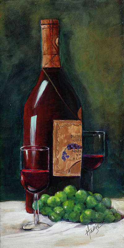 Happy Hour..deep Red Wine Bottle With Green Grapes Poster featuring the painting Happy Hour by Mary DuCharme