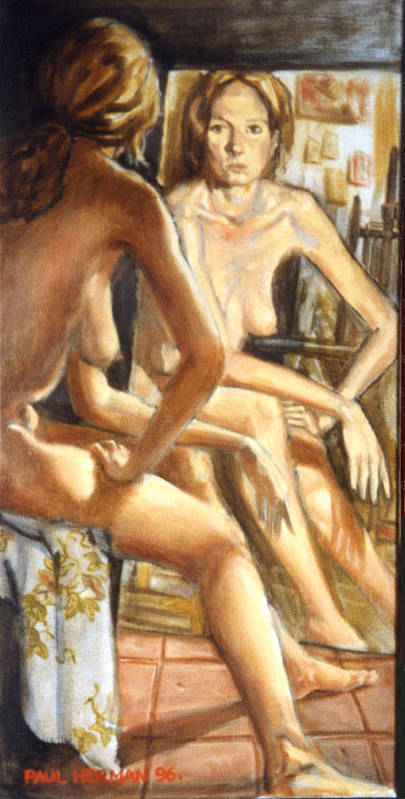 Nude Poster featuring the painting Isabel With Mirror by Paul Herman