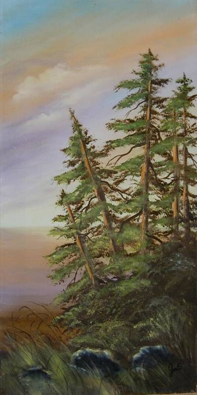 Landscape Poster featuring the painting Leaning Trees by Joni McPherson