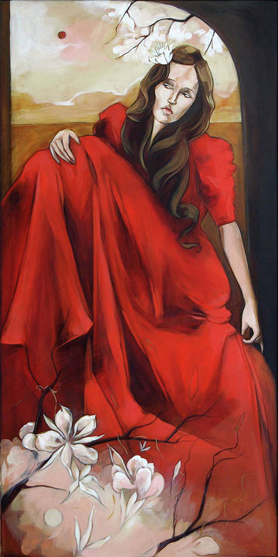 Magnolia Poster featuring the painting Magnolia's Red Dress by Jacque Hudson