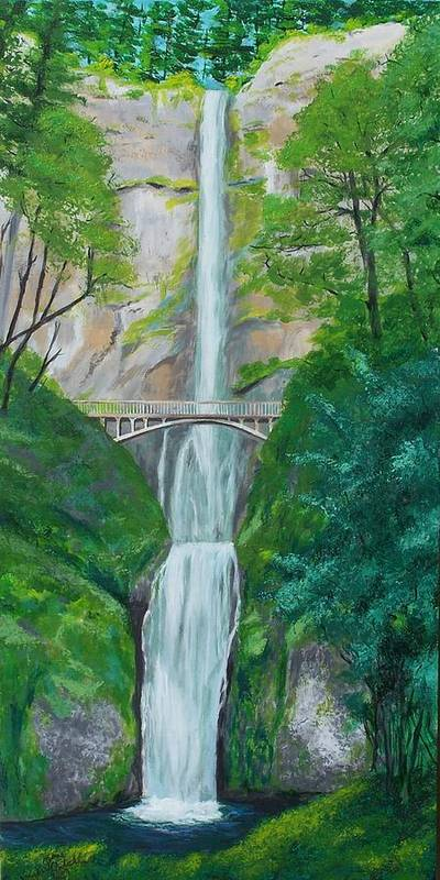 Landscape Poster featuring the painting Multonomah Falls by Gene Ritchhart