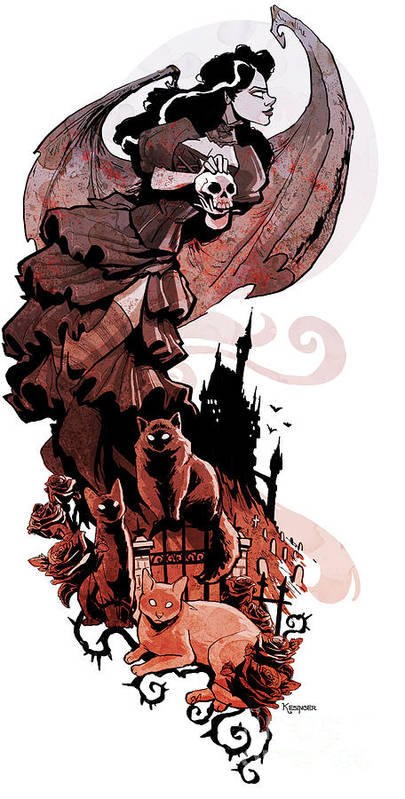 Gothic Poster featuring the digital art Nadja's Flight by Brian Kesinger