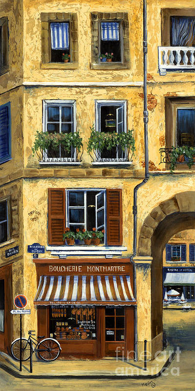 Europe Poster featuring the painting Parisian Bistro And Butcher Shop by Marilyn Dunlap