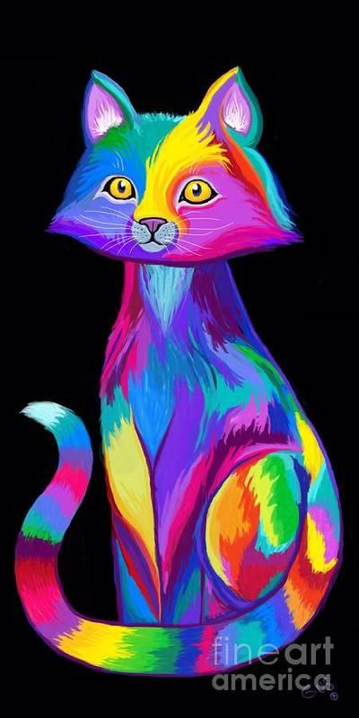 Cat Art Poster featuring the digital art Rainbow Cat by Nick Gustafson