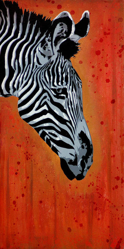 Zebra Poster featuring the painting Solitude In Stripes by Tai Taeoalii