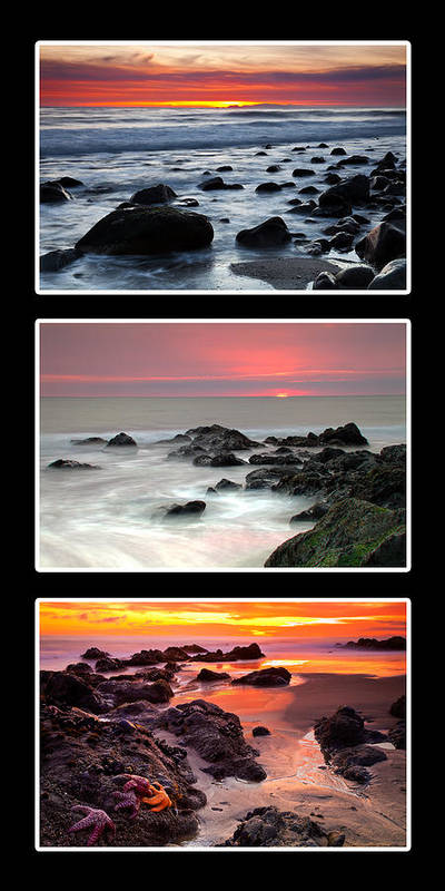 Beaches Poster featuring the photograph Sunset Triptych by Greg Clure