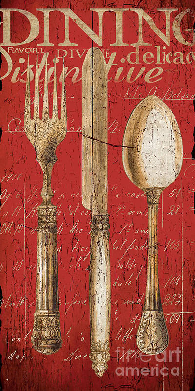 Dining Poster featuring the painting Vintage Dining Utensils In Red by Grace Pullen