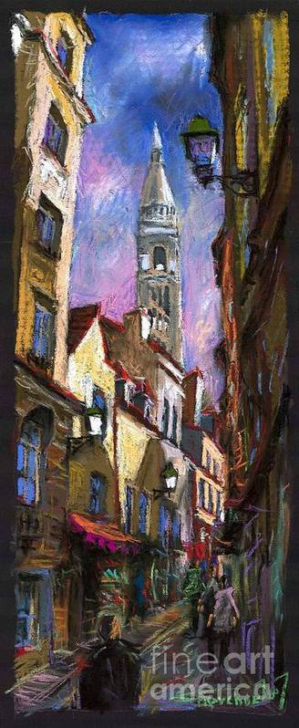 Pastel Poster featuring the painting Paris Montmartre by Yuriy Shevchuk