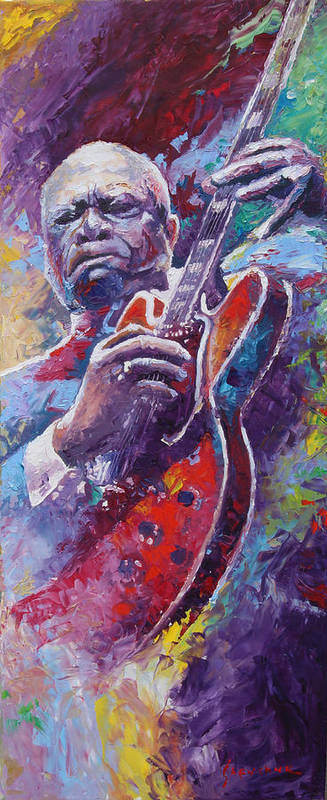 Oil Poster featuring the painting B.b.king 2 by Yuriy Shevchuk