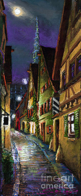 Pastel Poster featuring the painting Germany Ulm Old Street Night Moon by Yuriy Shevchuk