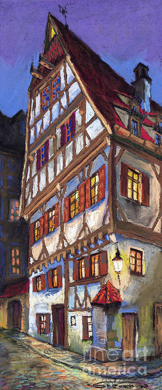 Pastel Poster featuring the painting Germany Ulm Old Street by Yuriy Shevchuk