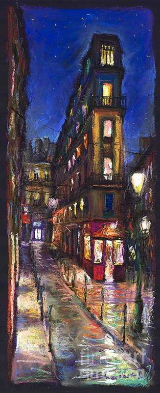 Landscape Poster featuring the painting Paris Old Street by Yuriy Shevchuk