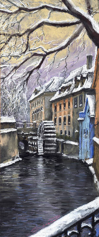 Pastel Poster featuring the painting Prague Chertovka Winter by Yuriy Shevchuk
