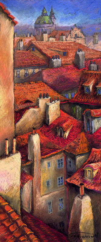 Prague Poster featuring the painting Prague Roofs by Yuriy Shevchuk