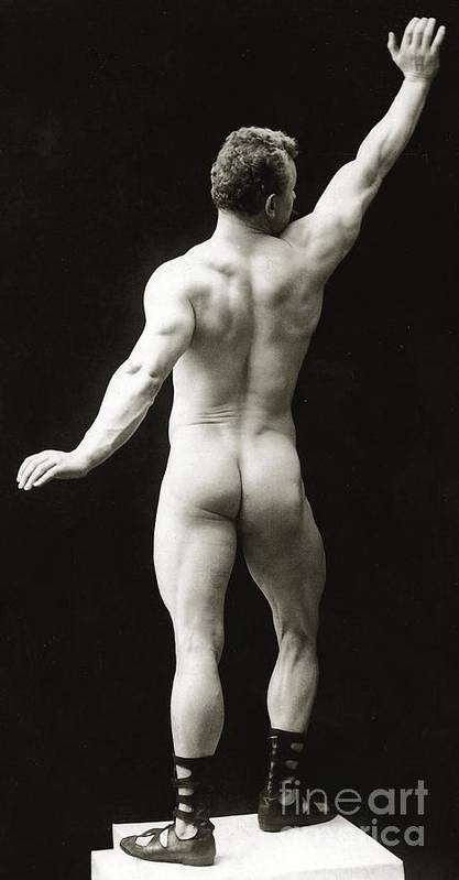 Eugen Sandow; Bodybuilder; Pioneer; Pioneering; Male; Physique; Competitor; Star; Competition; Body; Building; Pose; Posing; Model; Moustache; Nude; German; Ziegfeld Follies; Follies; Ideal; Standard; Modelling; Nude; Back; Buskin; Buskins; Body Builder; Body Building Poster featuring the photograph Eugen Sandow In Classical Ancient Greco Roman Pose by American Photographer