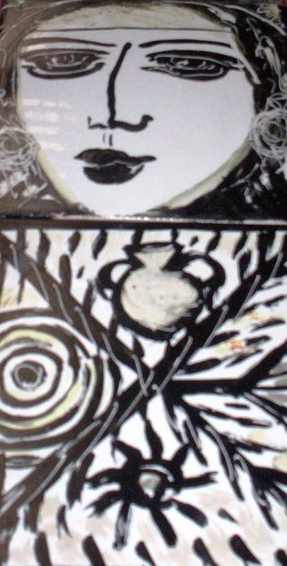Tiles Poster featuring the ceramic art Black And White by Catherine Walker