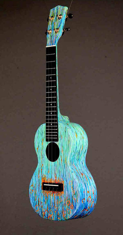 Ukulele Poster featuring the sculpture Handpainted Pono Concert Ukulele by Jean Groberg