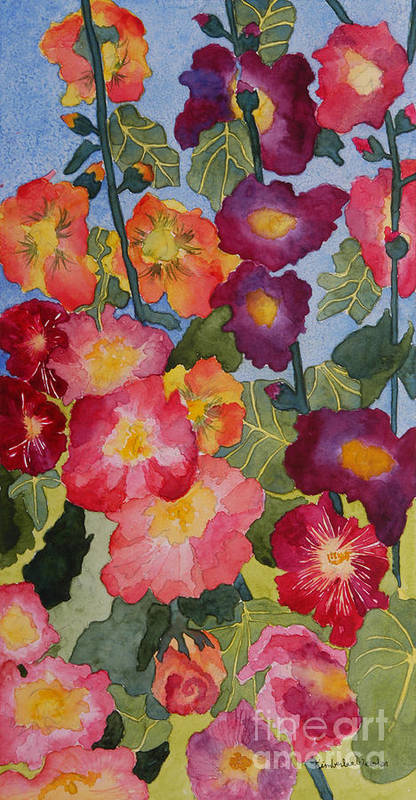 Floral Garden Poster featuring the painting Hollyhocks In Bloom by Kimberlee Weisker