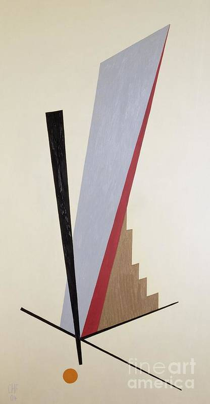 Abstract; After Kazimir Malevich; Constructivist Poster featuring the painting Ascending by Carolyn Hubbard-Ford