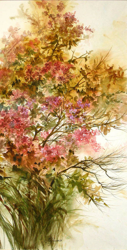 Leaves;blossoms;branches;autumn;pinks;floral; Poster featuring the painting Autumn Colors And Twigs by Lois Mountz