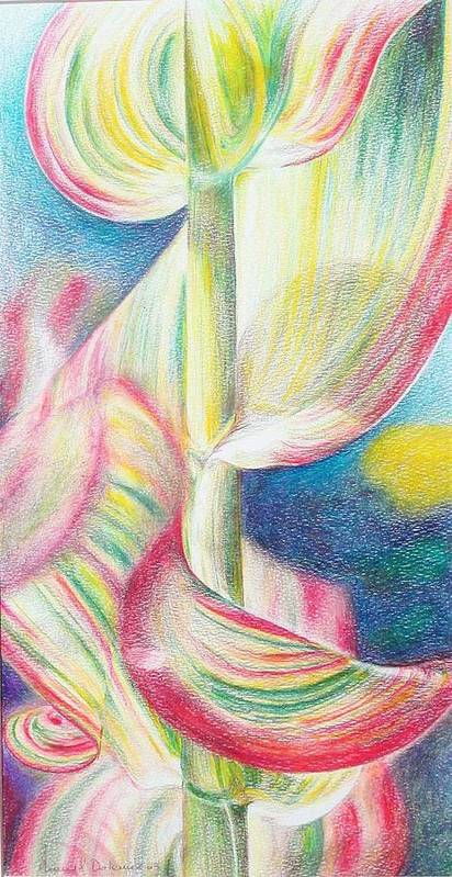 Flower Poster featuring the painting Bambou by Muriel Dolemieux