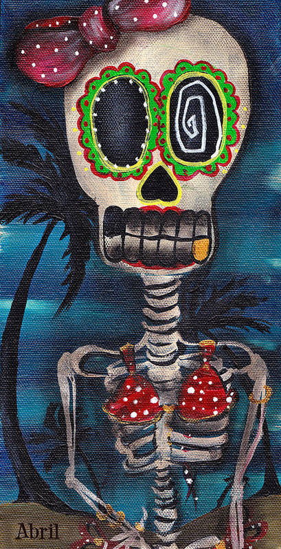 Day Of The Dead Poster featuring the painting Bikini by Abril Andrade Griffith