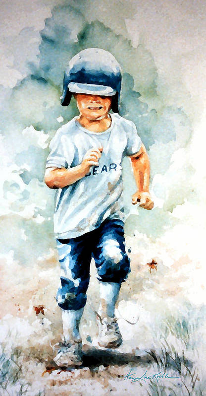 Kids Baseball Art Poster featuring the painting Blind Dash For First by Hanne Lore Koehler