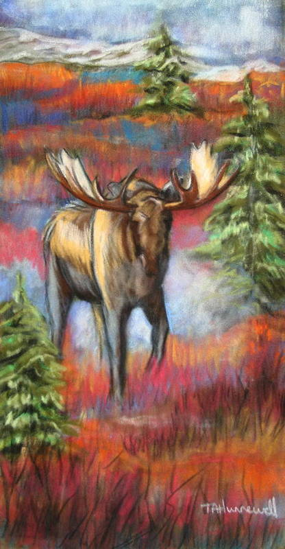 Animal Artwork Poster featuring the pastel Bull Moose In Fall by Tracey Hunnewell