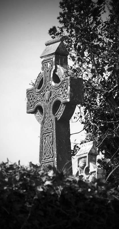 Celtic Poster featuring the photograph Celtic Cross At Fuerty Cemetery Roscommon Ireland by Teresa Mucha