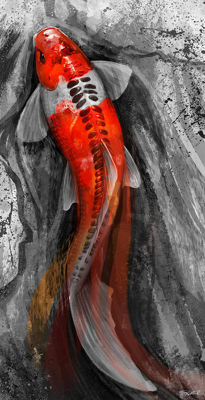Koi Art Poster featuring the digital art Flowing Koi by Steve Goad