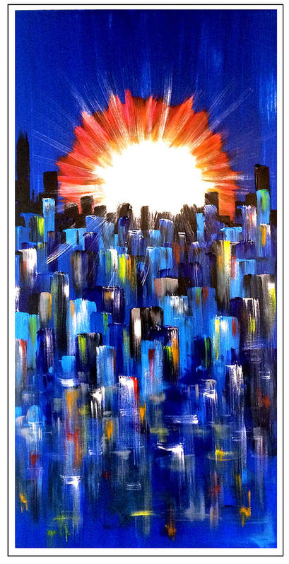 Cityscape Poster featuring the painting Lower South End by Mac Worthington