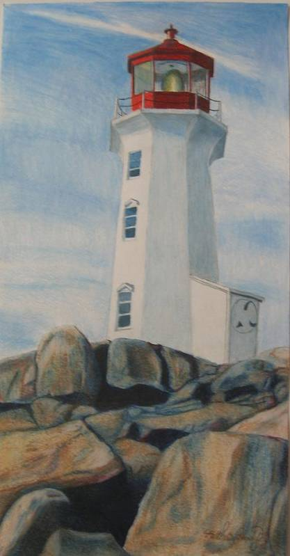 Landscape Poster featuring the drawing Peggys Cove Lighthouse by Matthew Handy