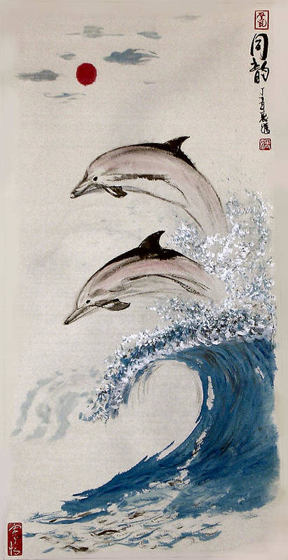 Dolphon Poster featuring the painting Same Rhythm by Lilian Storino