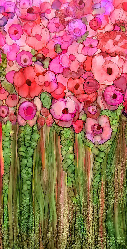 Carol Cavalaris Poster featuring the mixed media Wild Poppy Garden - Pink by Carol Cavalaris