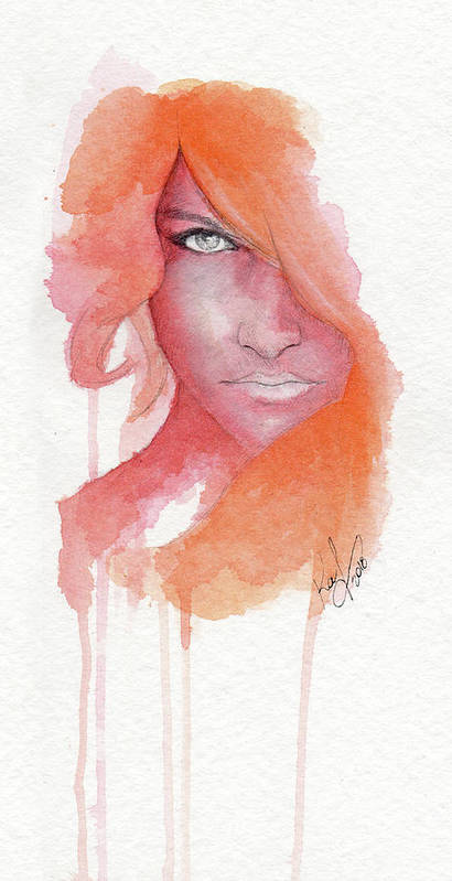 Face Poster featuring the painting Deep Orange by Raffaello Saverio Padelletti