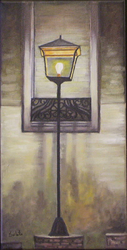 Landscape Poster featuring the painting Street Lamp by Srilata Ranganathan